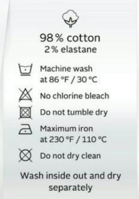 wash label on a cloth